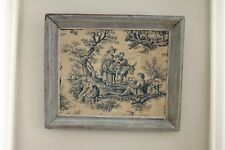 Antique French framed Toile de Jouy fabric distressed shabby chic country art