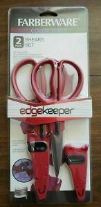 Farberware 2-Piece Red Shears Set EDGEKEEPER All Purpose + Utility Scissors NEW!