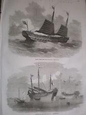 Guerre en Chine, anciennes et nouvelles style chinois Jonques de Guerre 1857 GRAVURES