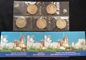 5 X 1988 Marshall Islands $5 Space Shuttle Discovery Commemorative Coin W/3COA's