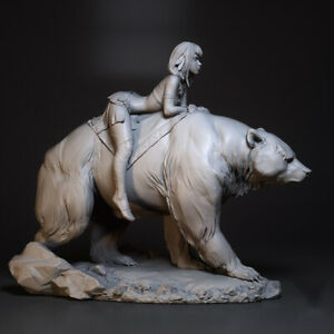 1:24 resin figures model kit sexy Bear riding girl R4643 Unassembled Uncolored