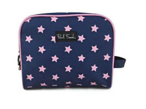 PAUL FRANK STARS YOUTH MAKE-UP COSMETIC CASE BAG HOLDER PURPLE PINK ZIPPED