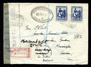 SPANISH GUINEA REGIST. CENSOR CVR w/BOX 1938 REGIST.CANCEL FKD Sc#268 x2>IRELAND