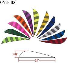 "New 50Pcs Archery Fletches 2.5"" Striped One Side Parabol Arrow Feather Rw"