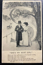 1905 Hemel England Picture Postcard Cover Perfin Stamp She Is My Best Girl