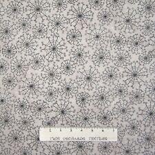 Halloween Fabric - Dancing in Shadows Folksy Spider Webs Beige - Marcus YARD