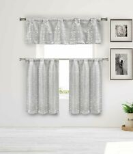 Blackout Privacy Gray 3 Pc Curtain Set: Metallic Cube Design Valance 2 Tiers 36L