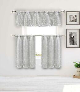 Blackout Privacy Gray 3 Pc Curtain Set: Metallic Cube Design Valance 2 Tiers 36L