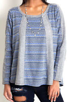 Umgee Top Size S M L Grey Tribal Aztec Free Boho People Womens Sweatshirt New