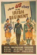 RECRUITING POSTER IRISH REGIMENTS INNISKILLING FUSILIERS ETC NEW A4 SIZE PRINT