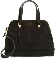 $468 NWT RARE SUEDE Kate Spade MAISE LEATHER Sycamore Fringe satchel bag black