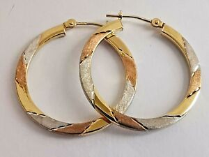 9ct 375 3 COLOUR GOLD HOOPS rose, white & yellow round 25mm alternating pattern