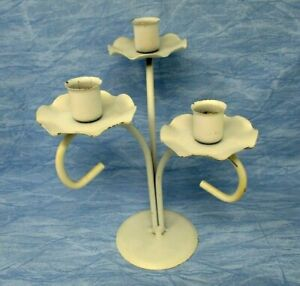 Candleholder Candelabra Metal Shabby Country Farmhouse Centerpiece Candle White