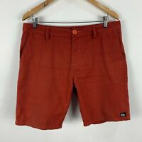 Quiksilver Mens Shorts 34 Orange Plaid Zip Closure Chino Bermuda Pockets