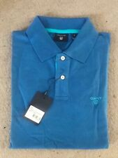 Gant Men's Contrast Collar Pique SS Rugger Polo Shirt Regular Fit Pacific Blue