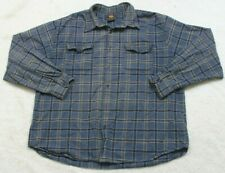 Route 66 2 Pocket Dress Shirt Large Cotton Long Sleeve Blue White & Beige Mens