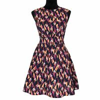 Emily And Fin Modcloth Dress XS Too Much Fun Full Pocket Skirt Navy Floral CUTE