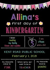 First Day Of School Sign-1st Day-School Supplies-Preschool-Kindy-chalkboard-flag