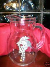 Glass Pitcher w/Silver Metal Grapes Design