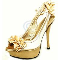 Womens Formal Party Sexy Shoes Champagne Open Toe Sling Back Sandal High Heels