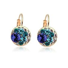 18K Rose Gold Plated Made With Swarovski Crystal Round Amethyst Hoop Earrings
