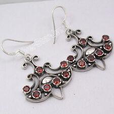 """3 Stone Earrings !! 925 Sterling Silver Original GARNET TIBETAN Jewelry 1.7"""""""