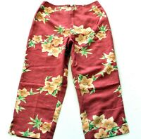 Women's New Tommy Bahama Silk Crop Capri Pants Mid Rise Coral Size 4 Inseam 20
