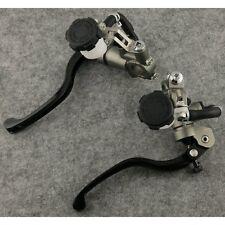 Universal Brake & Clutch Master Cylinder Levers Dual Fluid Reservoir Black