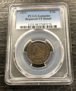 1811 1/2C Classic Head Half Cent Key Date PCGS VF Details Repaired