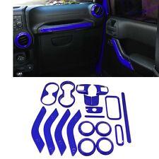 18Pcs Full Set Interior Decoration Trim Kit Blue For 2011-2017 Jeep Wrangler #ya