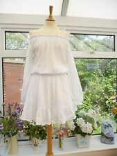 STUNNING *PADDO TO PALMY* WHITE SOFT COTTON *ST LUCIA* OFF THE SHOULDER DRESS 12