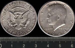 USA: 1964 Half Dollar Liberty 0.900 silver J F Kennedy