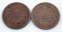 1845-1862 Straits Settlements Cent lot of 2 Coins, KM# 3 & KM# 6