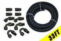 -8 AN8 Black Nylon Braided  PTFE Fuel Hose Line 33FT 10 Fittings  E85 +