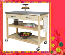 Kitchen Cart Trolley Nature Wooden Cabinet SKT815 Stanless Steel Benchtop