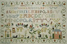 2001 CHARMING DUTCH COMPLETED REPRODUCTION SAMPLER CROSS STITCH ALPHABET CHURCH