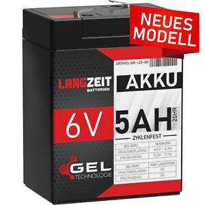 Akku 6V 5AH GEL Batterie Blei Akku USV UPS ersetzt 4,5Ah 4Ah 6Volt LC-R064R5P