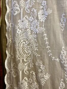 Victorianna Design Cream Cotton Lace Curtain c1900s period 130/210cms