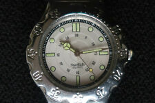 SWATCH MENS AG1994 WATCH WITH PEARL COLOURED FACE STAINLESS STEEL STRAP CLASSIC