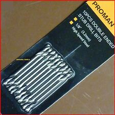 DRILL BITS HSS 3.2mm / 1/8 inch DOUBLE ENDED 10pc PACK - BRAND NEW.