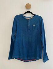 Scotch & Soda Mens Bonjour Piece Indigo Blue Long Sleeve Henley Shirt Size Large