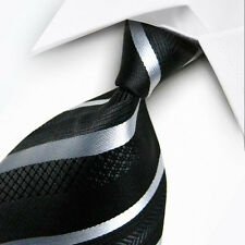 UK0011 Black White Striped New Silk Classic JACQUARD Woven Men's Tie Necktie