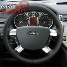 FOR FORD KUGA 2007-2012 BLACK REAL GENUINE ITALIAN LEATHER STEERING WHEEL COVER