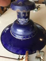Antique Gas Street Lamp Fixture Circa 1890s Rare Steampunk Cobalt Blue Porcelain