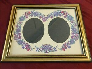 Gold Speckle Black Trim 1999 Crystal Art Gallery Colorful Floral Mat 2 Oval Open