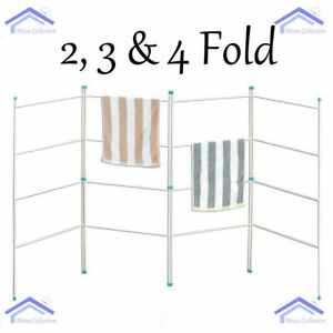 New 2 3 4 Fold Airer Clothes Drying Rack Folding Laundry Horse By HomeHut