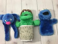 Vintage Sesame Street Hand Puppets Cookie Monster Oscar The Grouch Glover Toys