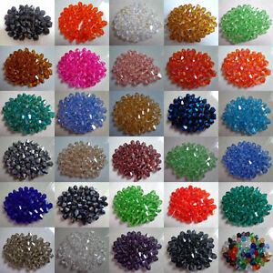 4MM 6MM 500pcs Loose Plastic Crystal Bicone AB Spacer Beads For Jewelry Making