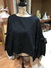 Free People Blouse Top So Obviously Yours Bell Sleeve  Black Large