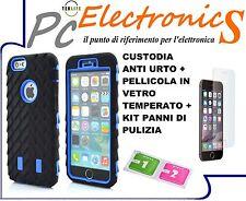 CUSTODIA AZZURRA ANTISHOCK COVER IPHONE 6 6S + PELLICOLA VETRO TEMPERATO + PANNI